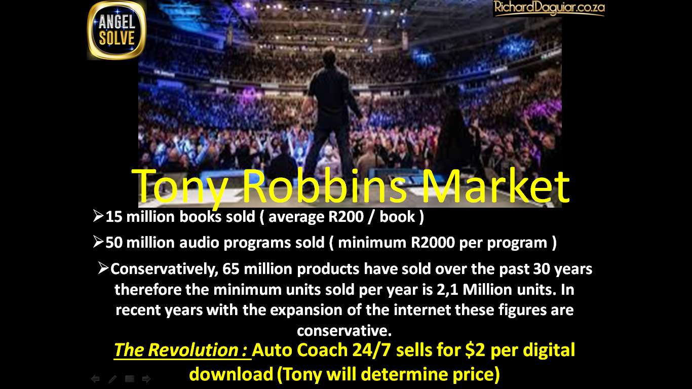 Tony Robbins free Auto Coach Angelsolve SLIDE DECK1 Auto Coach 24/7 is a World's First and it will extend Tony Robbins Legacy and Reach. Tony Robbins free Auto Coach Angelsolve SLIDE DECK5
